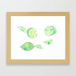 Fresh Lime Watercolor Framed Art Print