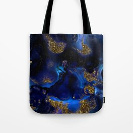 Gold and Indigo Malachite Marble Tote Bag