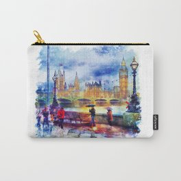 London Rain watercolor Carry-All Pouch