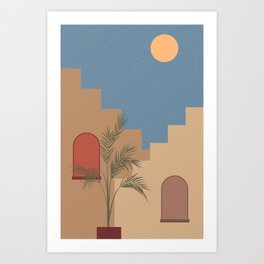 Travelling. Abstract boho vintage travel and vacation theme art print Art Print