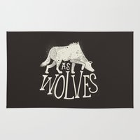 wolves Area & Throw Rugs featuring As Wolves by Landon Sheely
