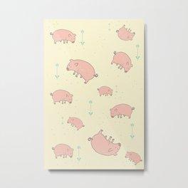 FUNKY PIG PATTERN Metal Print