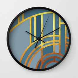 Art Deco Morning Sun In Dusk Blue Wall Clock