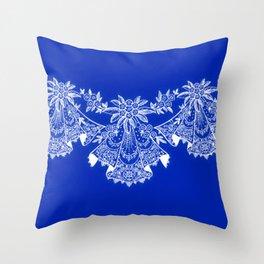 Vintage Lace Hankies Sapphire Blue Throw Pillow