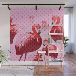 Watercolor Flamingo Pattern Wall Mural