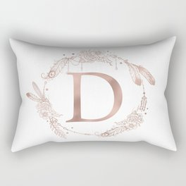 Letter D Rose Gold Pink Initial Monogram Rectangular Pillow