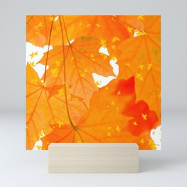 Fall Orange Maple Leaves On A White Background #decor #society6 #buyart Mini Art Print