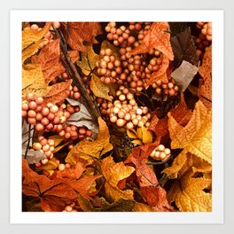 Autumn Leaves and Fall Berries Art Print