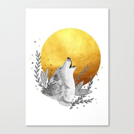 Grey wolf howling to gold moon Canvas Print