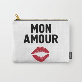 MON AMOUR - FRENCH LOVE kiss lips quote Carry-All Pouch