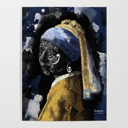 Typography with a pearl earring Poster