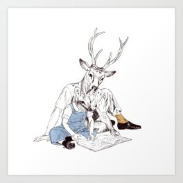 Bestial father and son Art Print