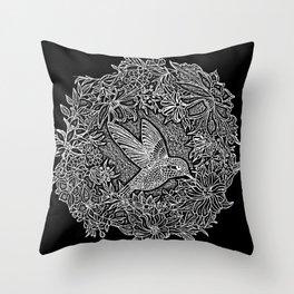Hummingbird In Flowery Wreath Linocut Throw Pillow