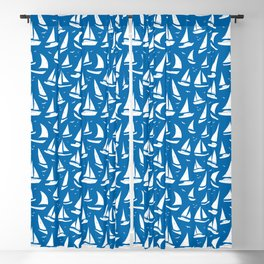 Cool Sailing Boats Pattern on Sea Blue Blackout Curtain