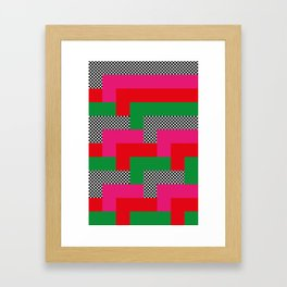 It reminds me of tetris, I don't know why. Red-Pink-Dots-Green. Framed Art Print