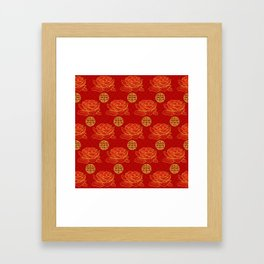 Peonies and Gold Double Happiness Symbol Pattern Framed Art Print