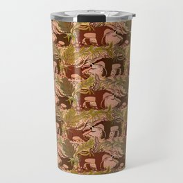 Badgers in Woodland Forest Plants under the Fall Sun, Cute Badger Mom & Baby in Woods Brown Green Travel Mug