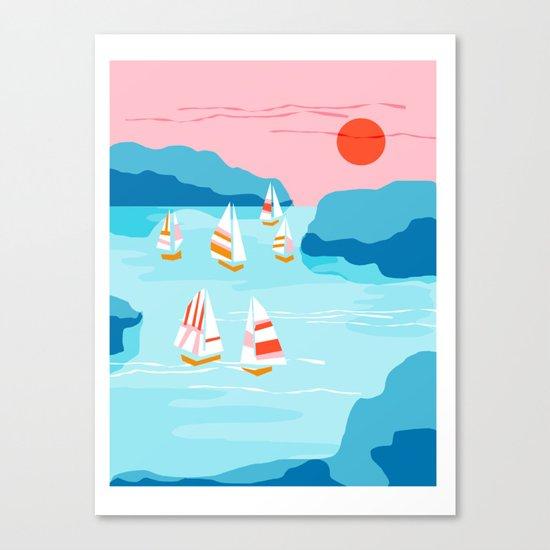 Tight - memphis throwback retro vintage classic sport boating yachting sailboat harbor sea ocean art Canvas Print