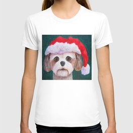 Christmas Shih Tzu By Annie Zeno T-shirt