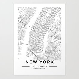 New York Map, Manhattan, USA City Map Kunstdrucke