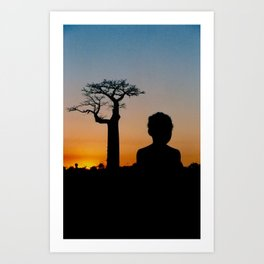 Malagasy girl and Baobab Art Print