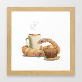 Banana snake, banana muffin, and chai latte Framed Art Print