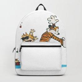 Hobbes Dancing with Vinyl Phonograph, Cute Artwork, Tshirts, Art Posters, Prints, Bags, Men, Women, Backpack