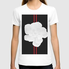 White Succulent On Black #decor #society6 #buyart T-shirt
