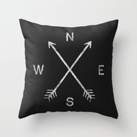 hello Throw Pillows featuring Compass by Zach Terrell