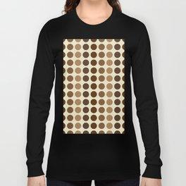 Shades Of Brown Polka Dots-Textured Long Sleeve T-shirt