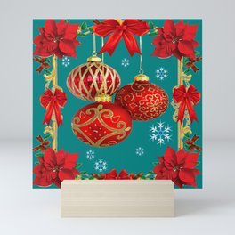 TEAL COLOR RED CHRISTMAS  ORNAMENTS &  POINSETTIAS FLOWER Mini Art Print