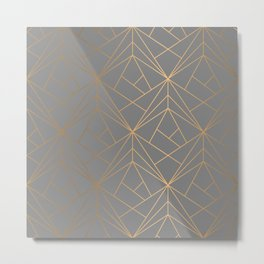 Charcoal Gold Geometric Pattern With Metallic Shimmer  Metal Print