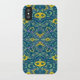 Blue Vines and Folk Art Flowers Pattern iPhone Case
