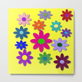 Flower Power, Cute Flowers, Pretty Colorful Flowers Metal Print