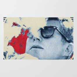John F Kennedy Cigar and Sunglasses Rise Poster Rug