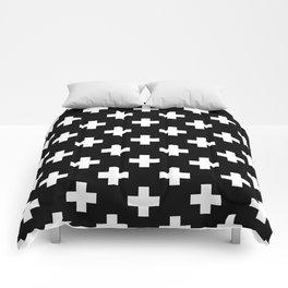 Black & White Plus Sign Pattern Comforters