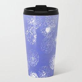 Abstract hand painted violet white watercolor paint polka dots Travel Mug