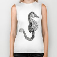 seahorse Biker Tanks featuring SEAHORSE by VOLPINE