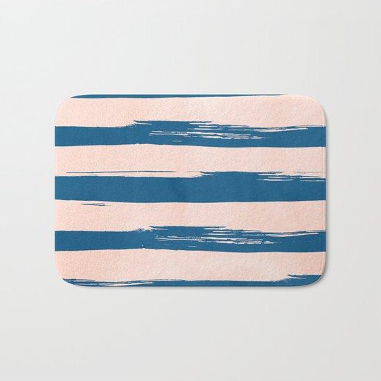 Trendy Stripes - Sweet Peach Coral on Saltwater Taffy Teal Bath Mat