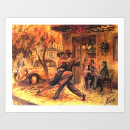 Couple dancing tango in Buenos Aires Art Print