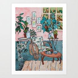 Rattan Chair in Jungle Room Art Print