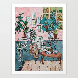 Rattan Chair in Jungle Room Art Print