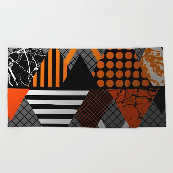 Industrial Geometry - Metallic, geometric, bronze, silver and gold, textured, patterned artwork Beach Towel