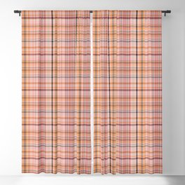 Coral Checked pattern Blackout Curtain