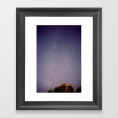 Meteors near the Milky Way Framed Art Print