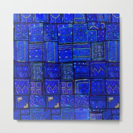-A2- Lovely Calm Blue Traditional Moroccan Pattern Artwork. Metal Print