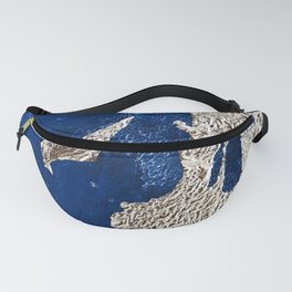 By the Bay: a minimal abstract mixed-media piece in blue gold and pink by Alyssa Hamilton Art Fanny Pack