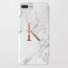 Monogram rose gold marble K iPhone Case