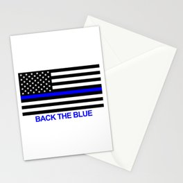 Thin Blue Line Back the Blue Flag Stationery Cards