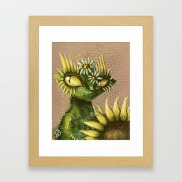 Sun Flower Cat Framed Art Print